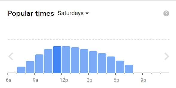 Google Graph showing that dog parks are crowded midday on Saturdays